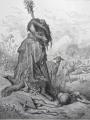 Fontaine's Fables Gustave Dore Antique Print C. 1880 (190) Wolf
