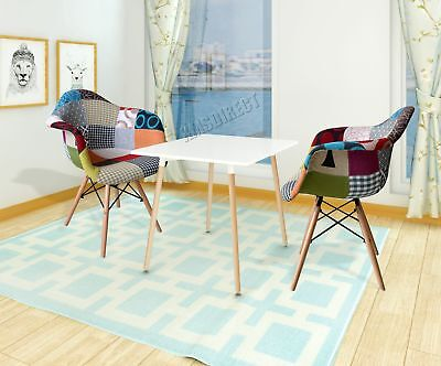 FoxHunter 1 Pair of Retro Patchwork Chair Armchair Fabric Seat Vintage PC002 DAW