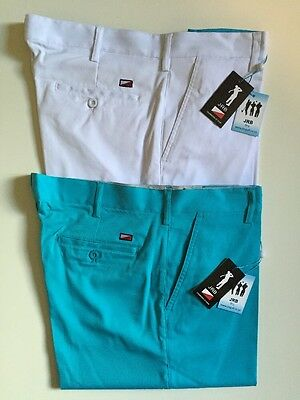 JRB Mens Dri Fit Flat Front Short 2 Pack Deal Clearance UK36 White & Swag Blue