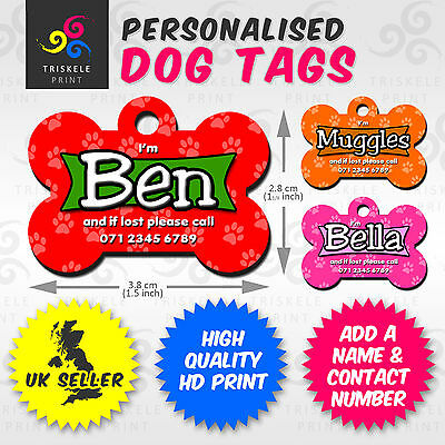 Personalised Pet Puppy Dog Name Contact info Message Metal ID Tag Christmas Gift