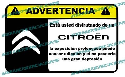 Vinilo impreso pegatina ADVERTENCIA CITROEN RACING STICKER DECAL