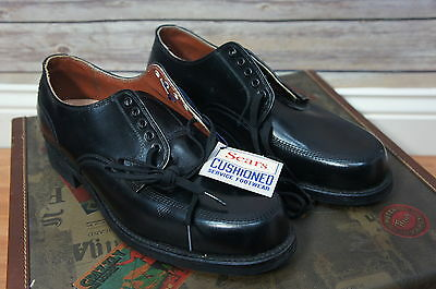 Vintage c. 1960's Deadstock SEARS GOLD BOND Black Leather Work Shoes 10 D