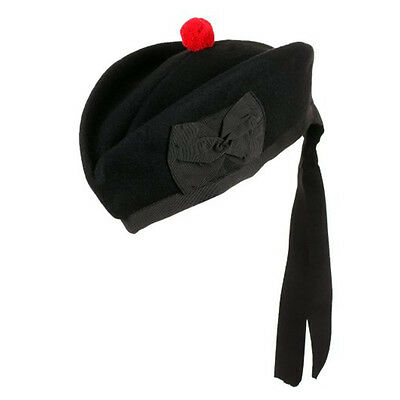 Black Glengarry KILT HAT Pure Wool British Army 56 cm