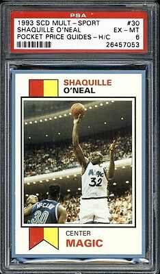 1993 SCD Multi-Sport Pocket Price Guides #30 Shaquille O'Neal ~PSA 6~ hand cut