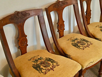 Victorian walnut parlour chairs. Set of dining chairs, four chairs.