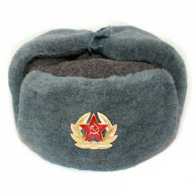 Authentic Russian Ushanka, Russian fur hat + Badge USSR army soldier winter caps