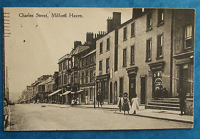 Postcard 1923 CHARLES STREET MILFORD HAVEN PEMBROKESHIRE WALES