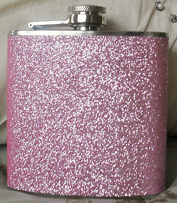 6oz Pink Glitter Hip Flask Ladies Festival Party Pocket Size Stainless Steel NEW