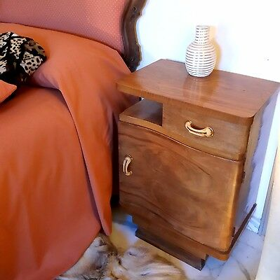 GORGEOUS   Mid century Modern  Pair of Italian  Wood  Bedsides Nightstands