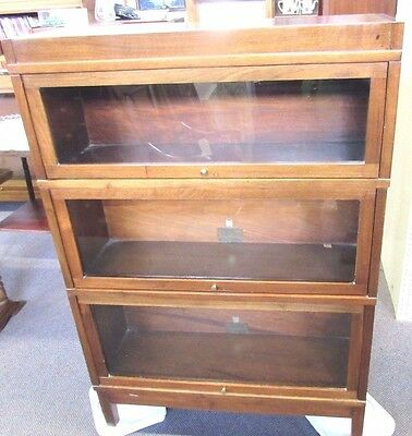 Antique Globe Wernicke Barrister Lawyers Stack Bookcase: 3 Sections+Top & Bottom