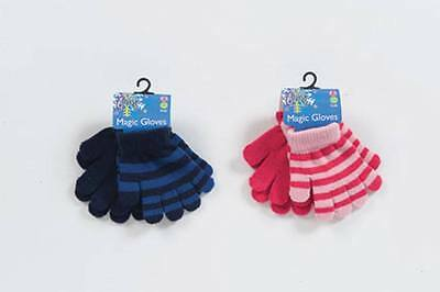 X2 Pairs Of Gloves Magic Gloves Childrens Kids Girls Boys Striped & Plain