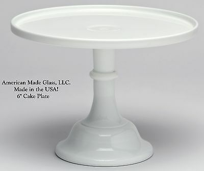 "Milk Glass Plain & Simple Pattern 6"" Cake Plate Bakers Stand Pastry Tray Mosser"