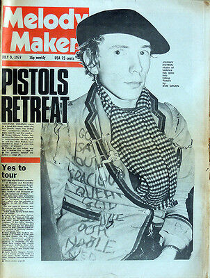 Melody Maker 9 July1977 . Sex Pistols Johnny Rotten Cover Pretty Vacant .not Nme
