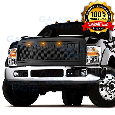 15-16 Ford F150 Raptor 3x White LED+Matte Black Replacement Mesh Grille+Shell