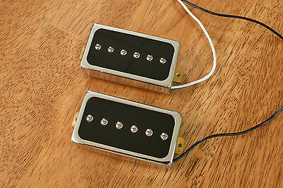 Humbucker Sized P90 Pickup Set Black Encased In Chrome