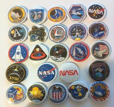 24 NASA badges 25mm Apollo missions rare patches Challenger astronauts USA