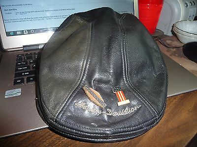 vintage Harley Davidson Leather Logo Ivy Cabbie newsboy Hat Cap...Genuine