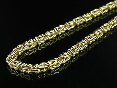Mens Ladies 10K Yellow Gold Byzantine Link Chain Necklace 5mm 30""