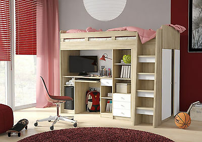 Bunk Bed Sleeper with Computer Desk, Side Wardrobe, Book Shelf and 3 Draws