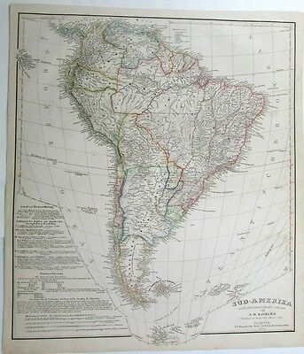 South America by Kohler 1856 Leipzig large detailed rare antique map hand color