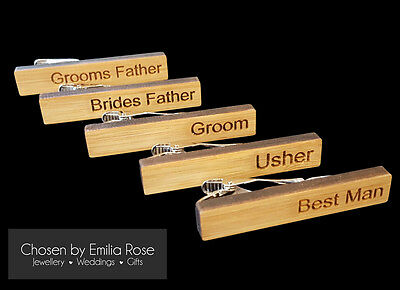 Wedding Role Title Tie Bar Clip Clasp Best Man,Usher, Groom, Brides Father Gift