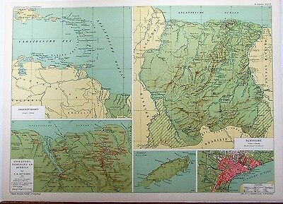 Dutch Guyana Suriname city plan Tobago 1926 scarce large Dutch litho map