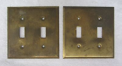 2 Antique Brass Double Electrical Switch Plate Cover Vintage Trim Home Decor