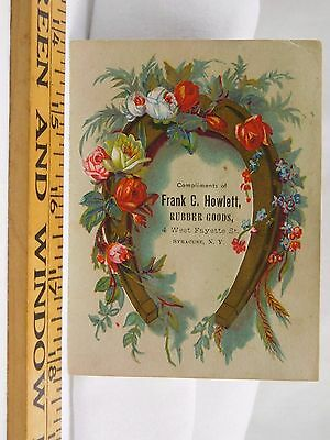 Victorian Trade Card Frank C Howlett Rubber Goods Horseshoe Flowers Roses F38
