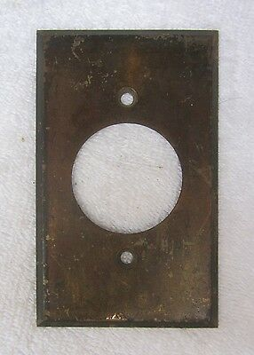 Antique Brass Larege Round Electrical Switch Plate Cover Vintage Trim Home Decor
