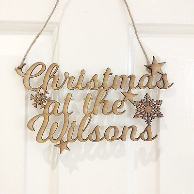 Personalised Christmas at the Family Name rustic wooden hanging sign Shabby Chic