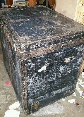 Tall Antique Shipping Trunk by MORITZ MADLER of Leipzig circa 1900 German A/F