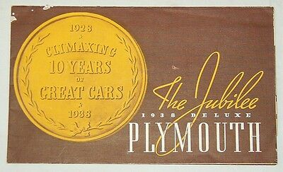 ***vintage 1938 Deluxe Plymouth Automobile 10 Year Anniversary Brochure***