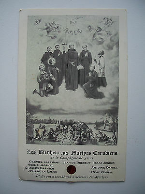 Antique Holy Card Canadian Martyrs with Relics