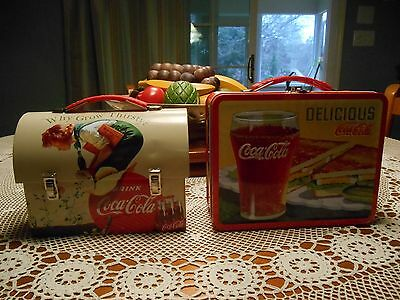 2~Coke Delicious Drink Coca Cola & Domed Why Grow Thirsty Mini Tin Lunchboxes