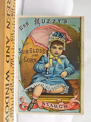 Muzzy's Sun Gloss & Corn Starch H.B Newhall Girl Parasol Blue Dress F38