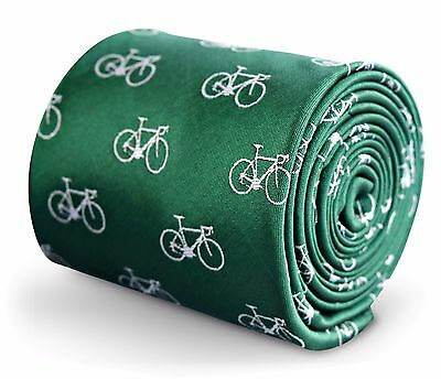 Green Mens Tie with embroidered Bicycle Print by Frederick Thomas FT3264