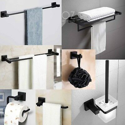 Square Towel Rack Rail Tissue Roll Toilet Brush Holder Robe Hook New Matt Black