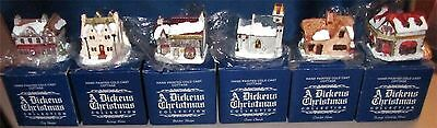 A Dickens Christmas Collection Hand Painted Cold Cast Cottage 6 Pieces