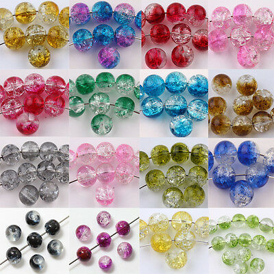 Wholesale 50Pcs Glass Mixed Round Crackle Crystal Loose Beads DIY Jewelry Making