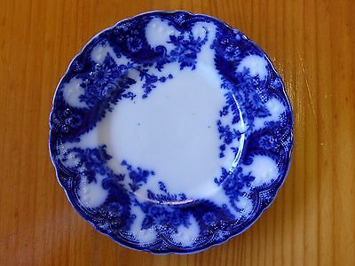 """Three (3) antique 7"""" round """"Lois Flow Blue"""" bread and butter plates"""