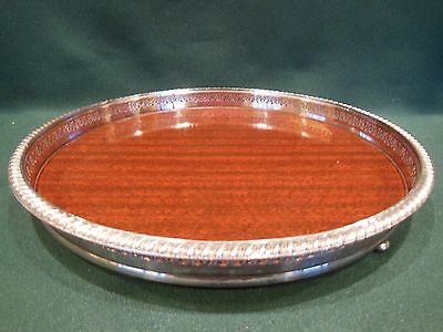 Vintage Crescent Silver Co. Silver Plated and Wood Round Serving Tray Footed