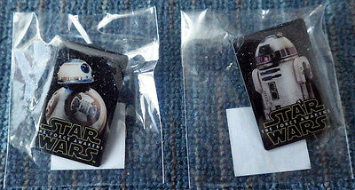 Star Wars Force Awakens Set of 2 Bell Promotional Pins - unopened! R2-D2 BB-8!!