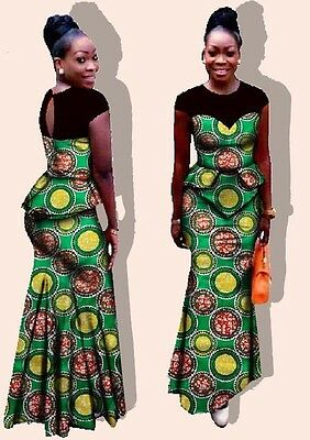 African wax print top and long skirt set. Available in size: 4XL and 6XL