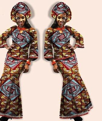 African wax print top and long skirt set. Available in size: 5XL