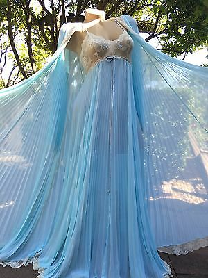 Spectacular 1970's Vintage Lucie Ann Pleated Blue Peignoir Robe & Nightgown Set