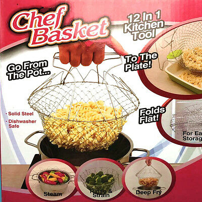 Creative Chef Strain Fry Frying Basket Strainer Foldable Washable Kitchen Tool
