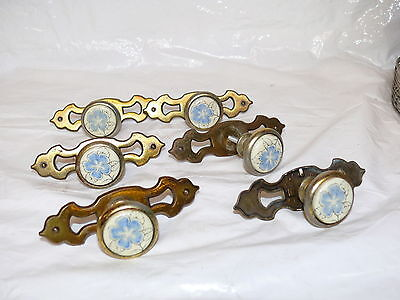 Lot of 6 1970's Brass Finished Cabinet Drawer Knobs Pulls Blue Flower Porcelain