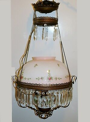 Antique Bradley Hubbard Iron Horse Pull Chain Hanging Oil Lamp Chandelier Prisms