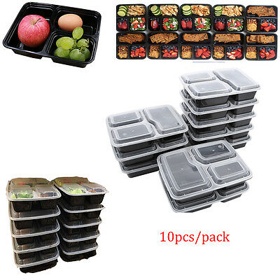 Microwavable 3 Compartment Reusable Lunch Box Bento Food Storage Container 10x K