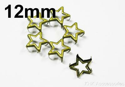 50 pcs X 12mm Star Frame Studs Spots Spike Nickel Silver / Anti Brass (non iron)